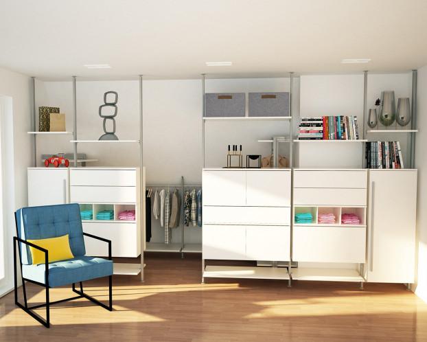Kleiderschrank LISSABON für Dachräume in 3 Modulen