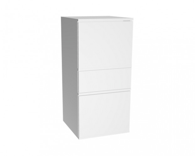 3er Schrankkombination mit 2 Türelementen + 1 Schublade | Weiß