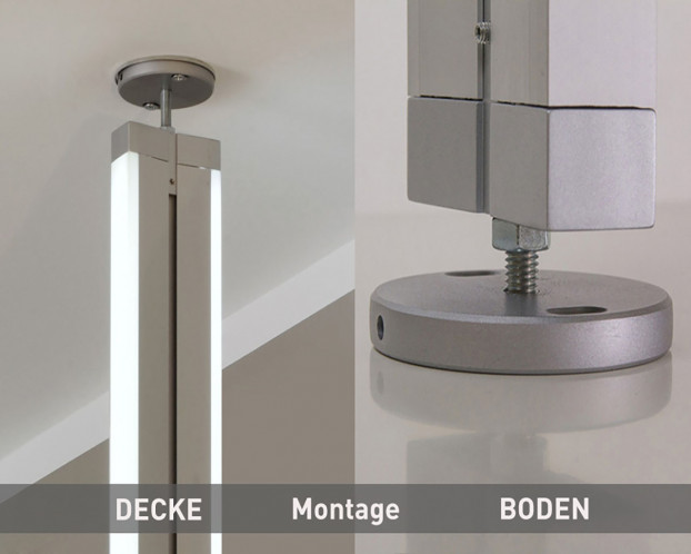 3tlg. Boden-Decken-Profil für Ankleidezimmer