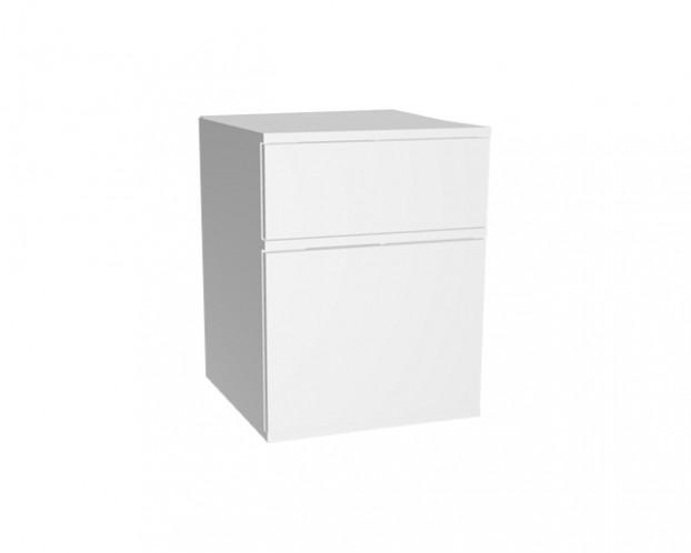 2er Schrankelement mit 1 Schublade + Tür(en) | Weiß