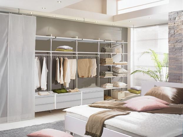 Kleiderschranksystem PRIMAVERA mit passendem Designerbett