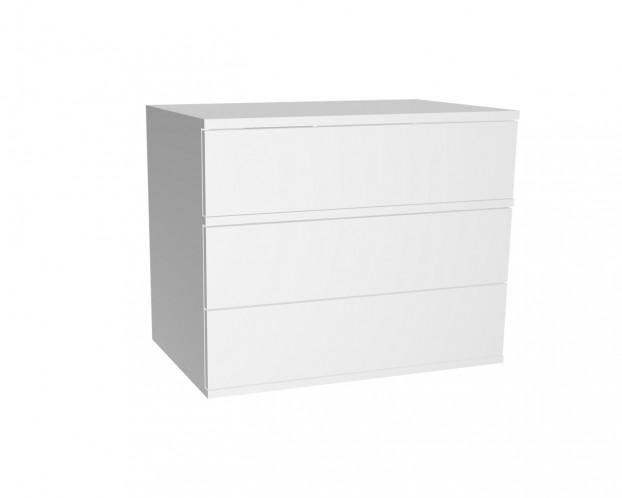 Schrankelement mit 3 Schubladen grifflos | Weiß