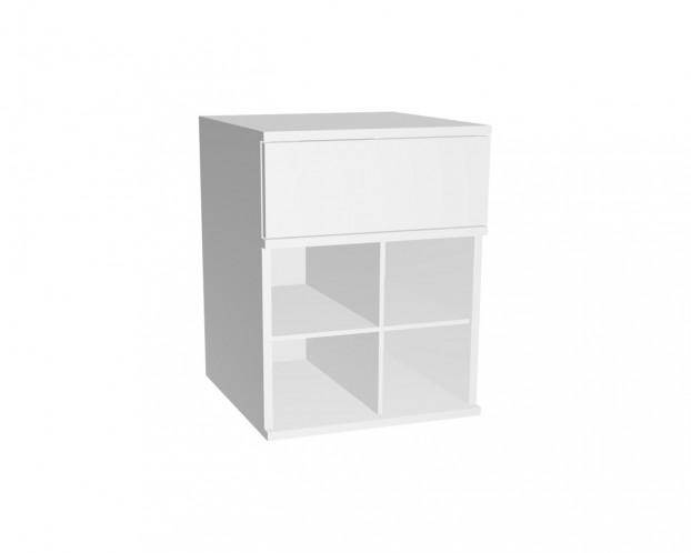 2er Schrankelement mit 1 Schublade + 4 bzw. 6 Fächern | Weiß
