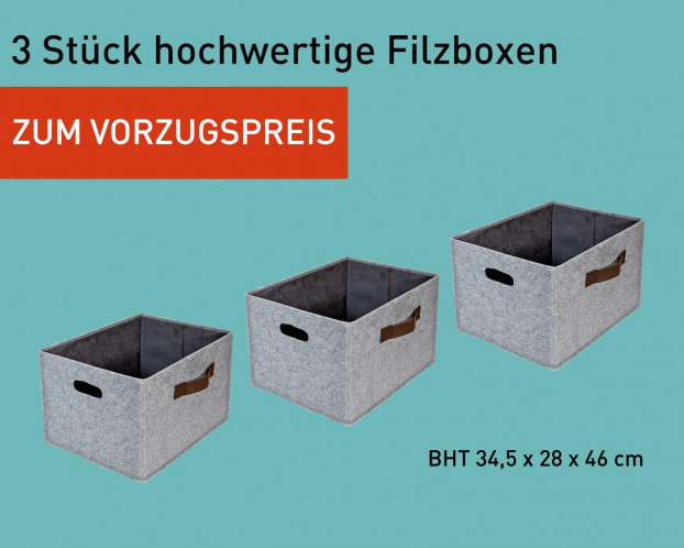 3er Set Aufbewahrungskorb Filz | Filzbox sehr stabil