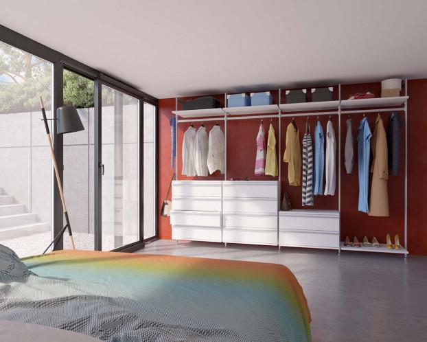 Das Schranksystem Star bietet Stauraum auf offene und elegante Art und Weise.